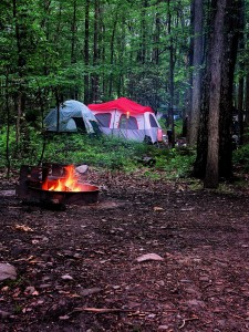 tenting outdoors in the wilderness