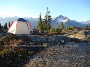 dome tent on crest mountain