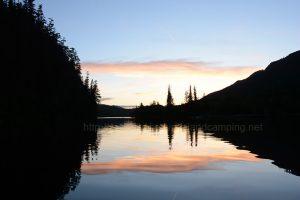 kathleen lake sunset camping vancouve island